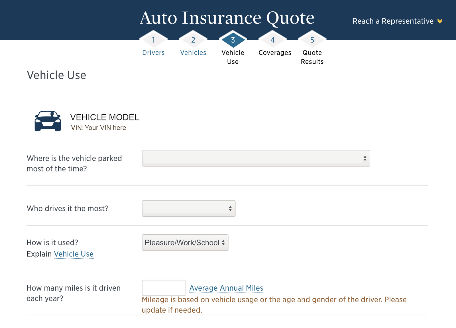 vehicle use for usaa quote